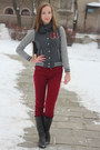 Charcoal-gray-forever-21-jacket-ruby-red-stradivarius-pants