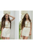 white Stradivarius dress - peach Forever 21 necklace