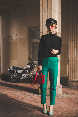 Zara shoes - H&M sweater - coffer red Mango bag - asos pants