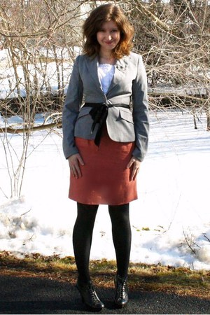 black Nine West boots - heather gray Express blazer - white thrifted shirt - bla