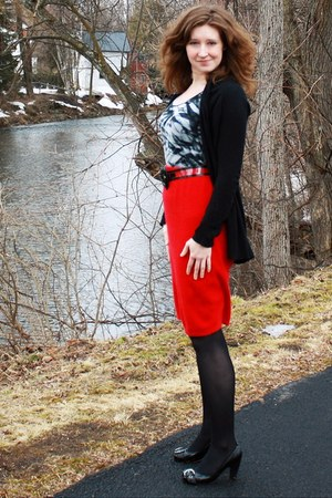 black Joie cardigan - heather gray Ana top - red thrifted skirt - black heels