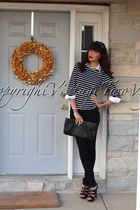 stripes shirt - New York and Co shirt - skinny joes jeans - vintage necklace
