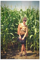 bronze Halston Heritage blouse - black Michael Kors shoes - black H&M skirt