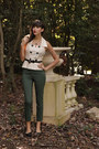 Forest-green-green-h-m-pants-eggshell-vintage-vintage-blouse