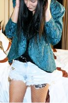 blue thrifted vintage blazer - blue DIY Vintage Levis shorts - black Forever 21