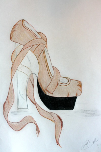 beige nude ballet platform pump shoes - black style detail raised front platform
