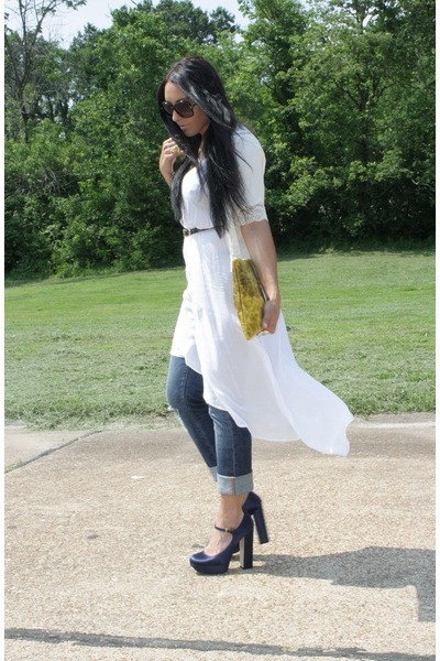 blue Miu Miu heels - white Nasty Gal dress - mustard American Apparel purse