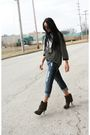 Black-forever-21-jacket-brown-steve-madden-boots-threadsencecom-shirt-silv
