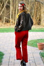 Red-thrifted-pants-dark-brown-dsw-boots-dark-brown-thrifted-cardigan-gold-