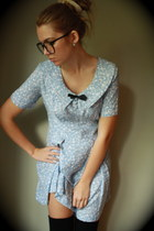 sky blue floral vintage dress - black ribbed American Apparel socks