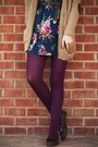 Camel-urban-outfitters-cardigan-navy-modcloth-dress-magenta-target-tights