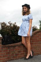 light blue altered vintage dress - black vintage hat