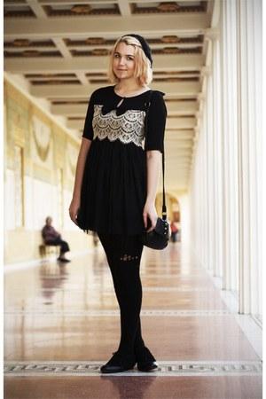 black modcloth dress - black knitted H&M hat - black H&M tights