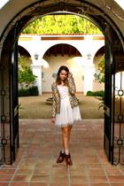 brown modcloth boots - ivory Forever21 dress - ivory Anthropologie sweater