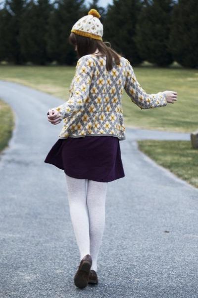 mustard Anthropologie cardigan - purple modcloth dress - mustard modcloth hat