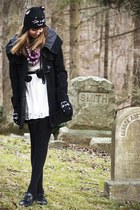 black BB Dakota coat - white Forever 21 dress - bubble gum Khols scarf