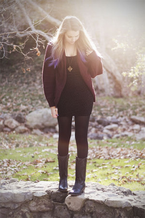 black vintage boots - black Sway Chic dress - crimson vintage cardigan