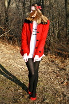 white adorable modcloth dress - red romantic Forever 21 coat