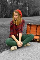 carrot orange H&M hat - green high waisted American Apparel pants