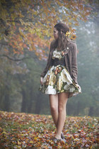 dark brown Forever 21 coat - dark green Jennifer Lilly dress