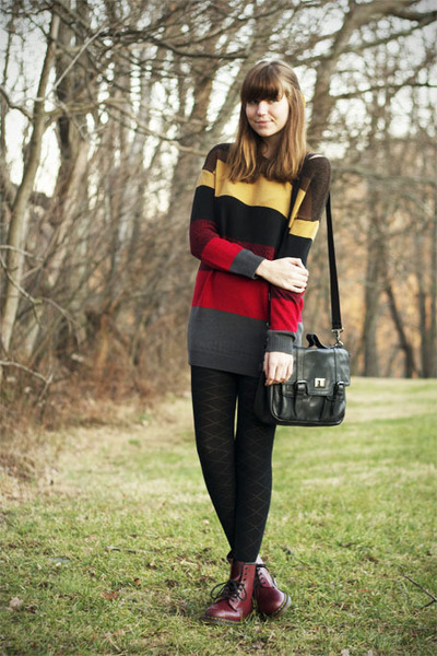 charcoal gray modcloth sweater - crimson Dr Martens boots - black DSW purse