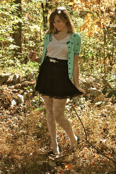 black kohls skirt - white H&M tights - white Urban Outfitters shirt - green thri