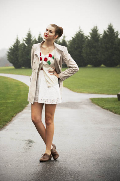 red modcloth cardigan - white Forever21 dress - beige H&M coat