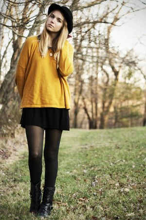 black DSW boots - black new look dress - black vintage hat - mustard H&M sweater