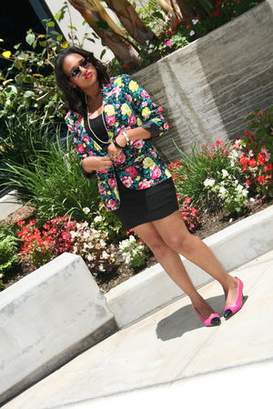 pink Urban Outfitters blazer - black Forever 21 top - Forever 21 skirt - pink No