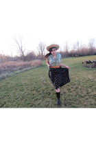 straw hat hat - Etiennne Aigner boots - vintage Spenser Jeremy belt