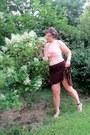 Peach-knit-vintage-croft-and-barrow-vest-brown-high-waisted-skirt