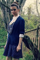 navy f21 blazer - f21 dress - white le chateau shirt