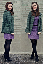 amethyst vintage dress - black Spring boots - green Billabong jacket