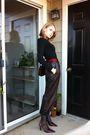 Brown-vintage-pants-red-enzo-angiolini-shoes-black-target-t-shirt-black-ta