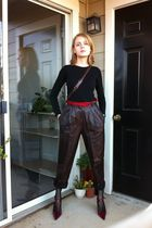 brown vintage pants - red Enzo Angiolini shoes - black Target t-shirt - black Ta