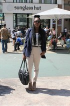 white H&M top - navy Forever 21 blazer - beige H&M pants