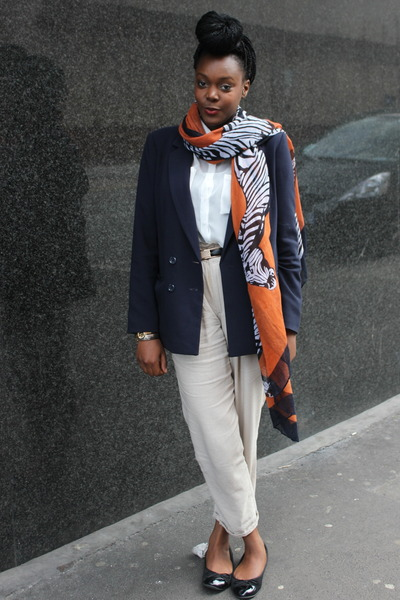 carrot orange Primark scarf - white H&M shirt - beige Forever 21 pants