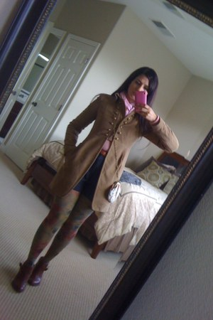 brown leather Anthropologie boots - camel military velvet Zara coat - multi-colo