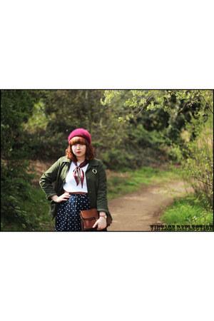 maroon vintage hat - army green thrifted vintage jacket - maroon vintage scarf