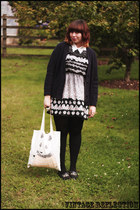 Topshop dress - Depeapa bag - thrifted vintage blouse - Topshop cardigan