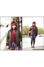 Maroon-vintage-dress-army-green-vintage-coat-tawny-faux-fur-topshop-hat