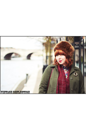 maroon vintage dress - army green vintage coat - tawny faux fur Topshop hat