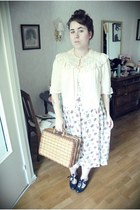 charity shop shoes - charity shop bag - charity shop skirt - vintage eBay blouse