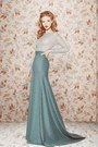 Sky-blue-cotton-skirt-silver-cotton-blouse
