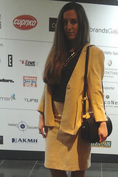 gold tailor made blazer - black H&M bag - gold tailor made skirt