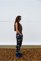 black vintage sunglasses - navy vintage pants - brown vintage vest