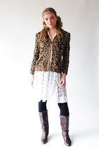gold 80s Vintage blazer - brown 80s Vintage boots - white 70s vintage dress - bl