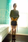 Olive-green-ann-taylor-sweater-nude-vintage-skirt-gold-target-gloves