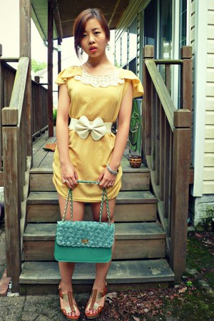 yellow From China dress - brown From China shoes - aquamarine From China purse