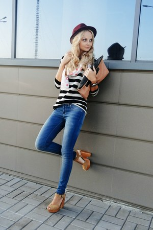 navy Blank Denim jeans - light pink Accessorize scarf - dark brown asos bag